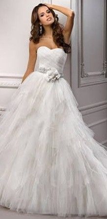 Tulle Ballgown with Asymmetrical Pleated Bodice & Layered Tulle Skirt