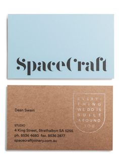 SpaceCraft business cards designed by Parallax Design. Join the Branding / Identity / Design Newsletter ➞