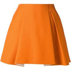 3.1 PHILLIP LIM pleated a-line skirt (€295) ❤ liked on Polyvore featuring skirts, bottoms, saias, faldas, pleated a line skirt, knee length a line skirt, knee length pleated skirt, orange skirt and pleated skirt