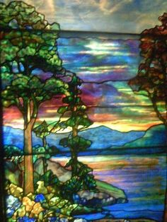 Tiffany glass at Navy Pier in Chicago - wondrous Like the way they worked with large pieces for the water and sky. Stained Glass Quilt, Stained Glass Door, Tiffany Stained Glass, Tiffany Glass, Stained Glass Designs, Stained Glass Panels, Stained Glass Projects, Stained Glass Patterns, Leaded Glass