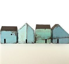 Set of four houses black clay Rowena Brown Clay Houses, Ceramic Houses, Miniature Houses, Art Houses, Wooden Houses, Pottery Houses, Black Clay, Driftwood Art, Handmade Home