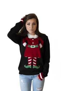 Your head on a mini-elf body.  Could this sweater be any cuter? And if you are looking at sweaters for couples we also have a mini-elf sweater for men as well.