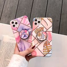 Candy Color Marble + PopSocket iPhone Case - phones and stuff - Girly Phone Cases, Pretty Iphone Cases, Diy Phone Case, Iphone Phone Cases, Iphone Case Covers, Buy Iphone, Iphone Cases Disney, Iphone 11 Pro Case, Iphone App