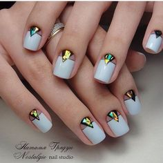 Evening dress nails, Evening nails, Half-moon nails ideas, Ideas of plain nails, Medium nails, Nails with stickers, Shattered glass nails ideas, Shellac nails 2017