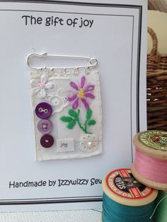 The gift of joy Hand sewn and embroidered brooch using beautiful vintage embroidered table cloth and vintage cotton. I loved making these!