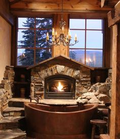 Step up to the hearth then down into the Bath Tub | Indeed Decor