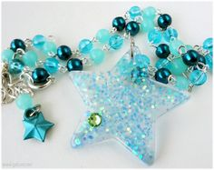 Teal Glitter Star Necklace, Sea Green and Baby Blue Beading, Iridescent, Silver - Magical Girl, Kawaii