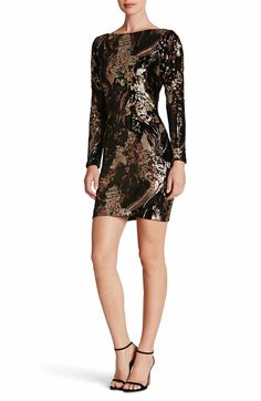 Lola Sequin Velvet Body-Con Dress by Dress the Population. Get whatever you desire for the evening in this stretch-velvet body-con dress coated in a hypnotic design of light-reflecting sequins.