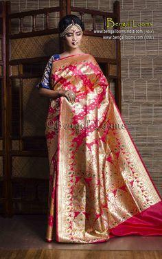 Art Silk Bridal Banarasi Saree in Peach and Gold