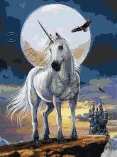Moonlight unicorn cross stitch kit