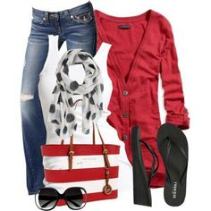 Swap the flipflops for a dressier black or white shoe, and this outfit is cute & patriotic for cool, casual summer nights .love the combo of colors Summer Outfits, Casual Outfits, Girl Outfits, Cute Outfits, Fashion Outfits, Womens Fashion, Moda Chic, Old Hollywood Glamour, Swagg
