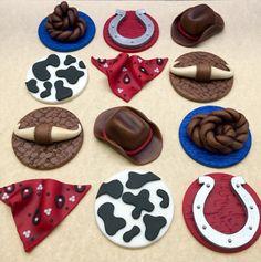 Fondant Cowboy Cupcake Toppers Cowboy Birthday by CherryBayCakes