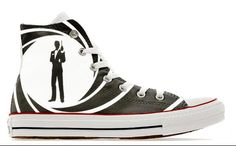 906dee2634b8 007 cult bond movie design custom converse high top shoes James sneakers  high top gift trainers printed secret service