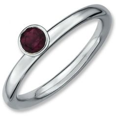 Sterling Silver Stackable Expressions High 4mm Round Rhodium Garnet Ring