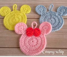 【レシピを一部修正しました】ミッキー&ミニーのアクリルたわし可愛くバランス良く仕上る編み方をご紹介しますまた、細編みを円形に編むと、カクカクしてしまう事ありま…