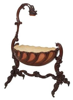 Carved Swinging Cradle...circa 1850: