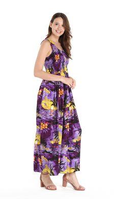ef01c8118b1 Women s Hawaiian Maxi Tank Elastic Luau Dress Sunset Purple