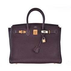 Hermes 35cm Birkin Bag Havanne Gold hardware Fjord Special Stitching JaneFinds   From a collection of rare vintage top handle bags at https://www.1stdibs.com/fashion/handbags-purses-bags/top-handle-bags/