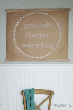DIY Large Art For Under $10- Craft Paper & Wood Slates Create A Fun Phrase For My Mudroom {City Farmhouse}