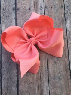 a3b1fb93c719 Large Coral Bow - Big Hair Bow - 6in Hair Bow - Coral bow - Basic Hair Bow  - Boutique Hair Bow - Solid Color Bow - Simple Hair Bow - Coral