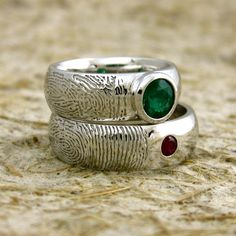 Round Natural Emerald 14K White Gold Fingerprint Ring or Thumb Print Wedding Band Domed Profile Personalized Custom. $1,985.00, via Etsy.