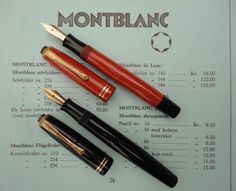 Montblanc # 226 in orange red and black along with an original price list in danish. This model was produced in Denmark Vintage Pens, Price List, Orange Red, Fountain Pens, Typewriter, Danish, Denmark, Communication, Projects To Try