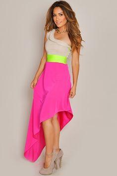 Asymmetrical Bright Angled Maxi Dress.