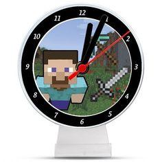 Lembrancinha/ Enfeite de Mesa Relógio Minecraft STEVE                                                                                                                                                     Mais