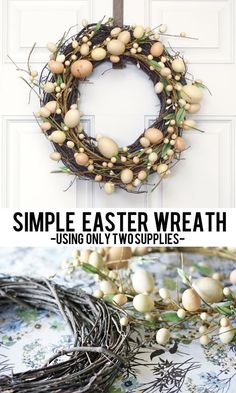 LOVE this simple Easter Wreath — and it only requires TWO supplies! LOVE this simple Easter Wreath — and it only requires TWO supplies! Shiplap Sign, Shiplap WreEaster Bunny Wreath for FEaster wreath, spring dec Easter Arts And Crafts, Easter Activities For Kids, Spring Crafts, Bunny Crafts, Diy Crafts, Diy Easter Decorations, Easter Wreaths Diy, Easter Centerpiece, Hoppy Easter