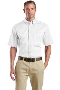 Buy the CornerStone - Short Sleeve SuperPro Twill Shirt Style SP18 from SweatShirtStation.com, on sale now for $26.99 #buttondown #businesscasual #cornerstone White