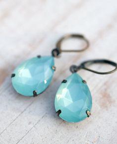 Dangle earrings Tiffinay blue earring opal by NotOneSparrow, $22.00
