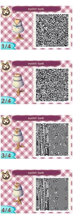Eyelet Tank, my first design ever! Animal crossing new leaf QR codes, visit… Qr Code Animal Crossing, Animal Crossing Qr Codes Clothes, One Design, Leaf Design, Dream Code, Motif Acnl, Ac New Leaf, Haha, Color Lila