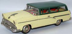 ULTRA RARE Vintage Tin Friction Ford Custom Ranch Station Wagon, Bandai - Japan
