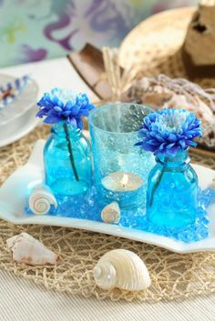 Blue beach wedding centerpiece