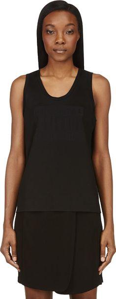 Alexander Wang black bonded parental advisory muscle tank shirt | reg $295, sale $88
