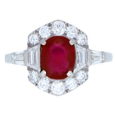 Art Deco Burmese Ruby And Diamond Ring