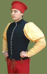 "A close fitting jacket popular during the 15th century. This doublet is seen in the Benozzo Gozzoli ""Cavalcata dei Magi"""