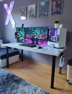 Best Gaming Setup, Gaming Room Setup, Tour Pc, Configuration Pc, Dual Monitor Setup, Pc Setup, Game Setup, Computer Desk Setup, Bedroom Setup