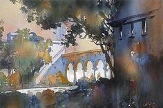 """hammond castle"" - gloucester, mass thomas w schaller watercolor 15x22 inches 08 aug 2014"