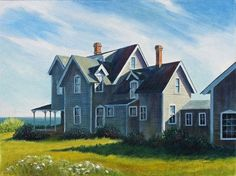 """""""House by the Sea"""" ~ In a gorgeous setting above the water.  Oil Painting by Kathryn Kleekamp,  Cape Cod Artist and Author  www.sandwichart.com"""