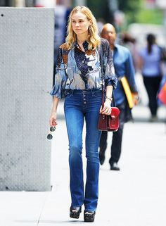 How to Wear Flare Jeans like Diane Kruger, Emma Roberts, and More via @WhoWhatWear