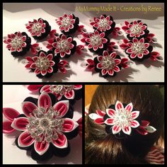 Kanzashi flower in satin pink white and black ribbon. Made for a girls calisthenics team competition.
