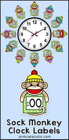 Sock Monkey Theme Clock Labels and Student Worksheets: These fun and colorful sock monkey theme labels will look fantastic around your classroom clock! The polka dot frames and silly monkey characters are sure to inspire your students to practice telling time. By Pink Cat Studio