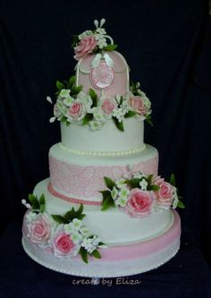 Pink sugar roses and  lace wedding cake  ~ all edible