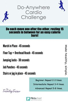 Take the Do-Anywhere #Cardio Challenge, good for working out in front of tv, at home office, when watching children, etc.  #workoutathome #workoutsforwomen #homeworkouts