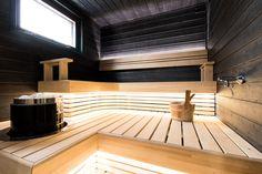 Oikea saunatunnelma syntyy laadukkaista materiaaleista ja designista, joka on sekä toimiva että tyylikäs. Tehdäänkö sinullekin tällainen? #saunaremontti #sauna #kontiomaa Stairs, Outdoor Decor, Design, Home Decor, Home, Stairway, Decoration Home, Room Decor