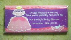 Babyshower favor...cute and clever idea!  Its a Hersheys chocolate bar inside.