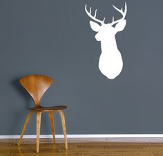 Deer silhouette ~ Head Mount maybe I should get one of these! Doesn't seem like I will be getting the real deal anytime soon! Childrens Wall Decals, Vinyl Wall Decals, Diy Wall, Wall Decor, Deer Silhouette, Cabin Furniture, Floor Decor, Wall Murals, Wall Art