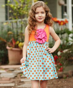 Another great find on #zulily! Orange Polka Dot Peony Dress - Girls by Freckles + Kitty #zulilyfinds