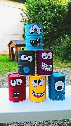 Break the box of little monsters ! - Children's cake diy cardboard Break the bo. - Break the box of little monsters ! – Children's cake diy cardboard Break the box of little mon - Kids Crafts, Tin Can Crafts, Diy And Crafts, Paper Crafts, Wood Crafts, Diy Karton, Diy Cardboard, Backyard Games, Outdoor Games